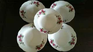 🌱🏵🌼Rare Vintage Porcelain Deep Plate x 5pcs🏵🌼🌿