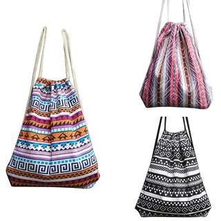 Drawstring bag woven backpack boho bohemian Aztec gypsy back pack chic hippie tribal Tumblr