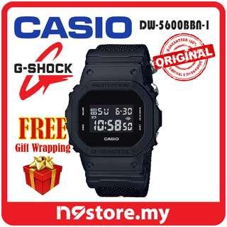 CASIO G-SHOCK DW-5600BBN-1 DIGITAL FULL BLACK NYLON BAND SPORTS WATCH