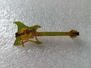 Hard Rock Cafe Pins ~ MELBOURNE HOT & RARE 1998 LIME GREEN ARIA GUITAR PIN!