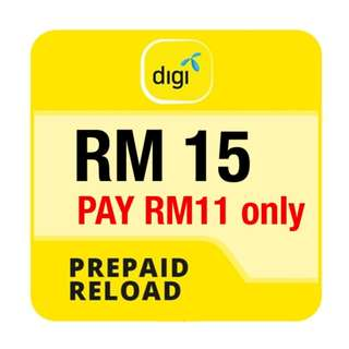 Pay RM11 only for RM15 Digi Prepaid Reload!  Topup now!