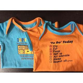FREE DELIVERY in M.MLA only! 2-pcs Onesies for 0-3 months