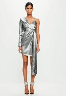 Missguided Silver Asymmetric Mini Dress