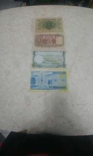汇丰银行50元及5元和渣打银行10元和香港政府1元