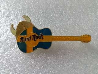 Hard Rock Cafe Pins ~ STOCKHOLM HOT & RARE HORIZONTAL FLAG COLORED ACOUSTIC GUITAR WITH VIKING HELMET!