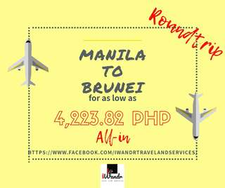 MANILA TO BRUNEI ROUNDTRIP ALL-IN (AIR FARE ONLY)