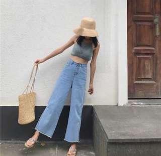 🚚 韓版高腰顯瘦牛仔褲