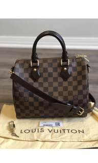 Authentic Lv Speedy B 25 Damier Ebene