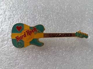 Hard Rock Cafe Pins ~ STOCKHOLM HOT & RARE FLAG COLORED FENDER GUITAR WITH HEART & PEACE SIGNS!