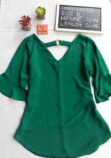 Office Attire for Plus Size Women - Green V-Neck Blouse
