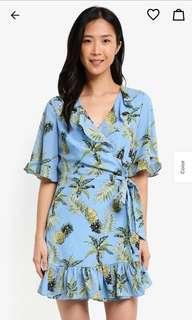 Zalora Tropical Wrap Ruffle Dress