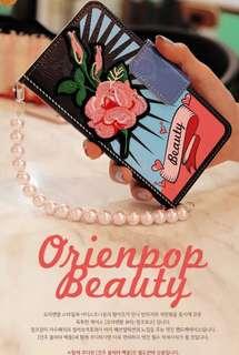 MrH 三星S8 S9 刺繡手機套連珍珠鏈