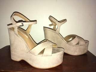 Size 36 Taupe Platform Sandals