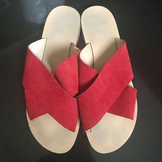 Topshop red suede sandals