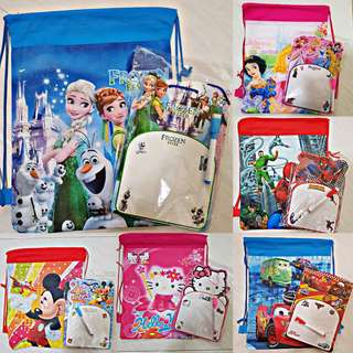 Package deal: Cartoon Drawstring + Cartoon Whiteboard with Markers - Goodie Bag