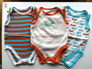 Preloved MOTHERCARE cute cartoon alligators / crocodiles & stripes sleeveless onesies set of 3 - in average good condition