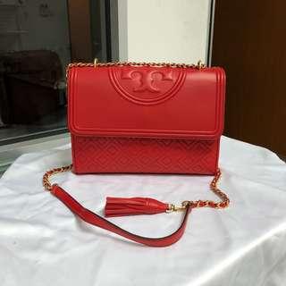 Tory Burch Fleming Conbertible Shoulder Bag Exotic Red