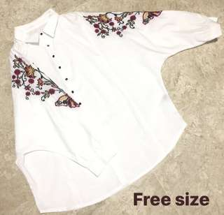 White Floral Embroidered Shirt Dress Top
