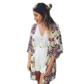 Floral Kimono Cardigan loose chiffon flower print long blouse top shawl jacket