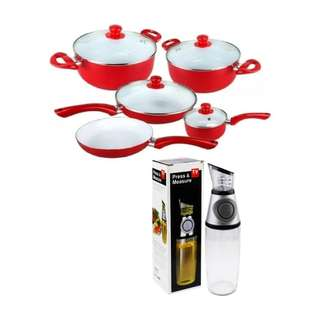 Ceramic Pan 9-Piece Set (Red) with Press and Measure