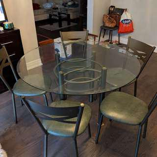 Large Glass Round Dining Table Set