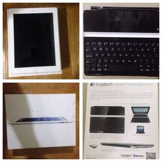 Apple iPad 4 WiFi 32GB White Plus Ultrathin Keyboard Cover by Logitech