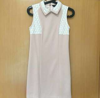 Pale pink shift dress (lace detail)