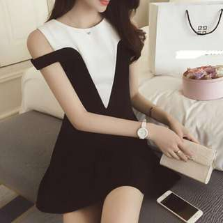 🚚 [PO] Black and White Office Dress
