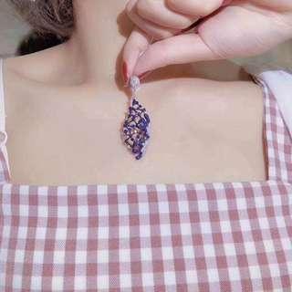 香港預展 18k藍寶鑽石吊墜 不含鏈