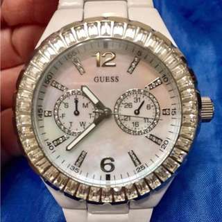 White metal band GUESS watch