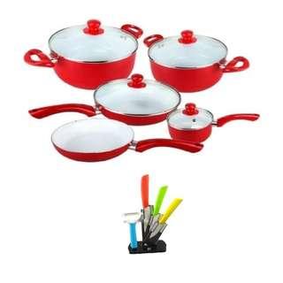 Ceramic Pan 9-Piece Set (Red) Free Ceramic Knife with Peeler