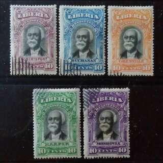 [lapyip1230] 利比里亞 1923年 掛號專用票(每州發行一隻) 舊票全套 Set VFU