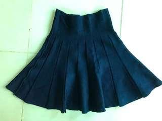 Navy blue Knitted Skater Skirt