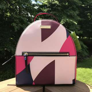 KATE SPADE LAUREL WAY PRINTED SAMMI BICOLOR GEO SPOTLIGHT LEATHER BACKPACK (WKRU4697)