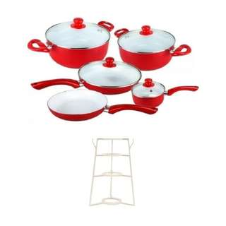 Ceramic Pan 9-Piece Set (Red) with Pots and Pans Organizer