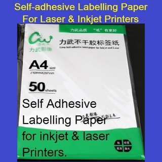 Self-Adhesive Labelling / Sticker A4 Paper 210mmX297mm - 50 Sheets - for Inkjet & Laser Printers
