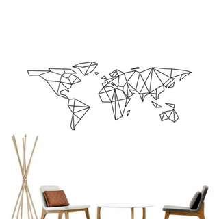 Geometric World Map Wall Decal Vinyl Sticker