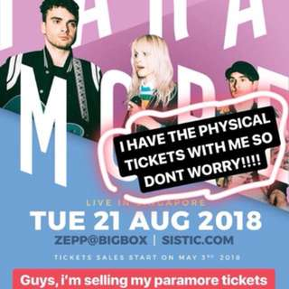 1x Paramore Admission tickets + VIP