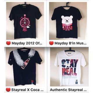 Mayday concert T-shirts Stayreal / B'in Music