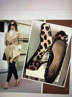 Dune London Leopard Print Lamb Skin Heels Shoes 6