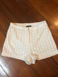 Topshop High Waist White Floral Shorts