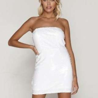 In The Style - Tammy Hembrow White Sequin Dress