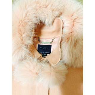 pink rabbit fur winter long coat (size M tight)