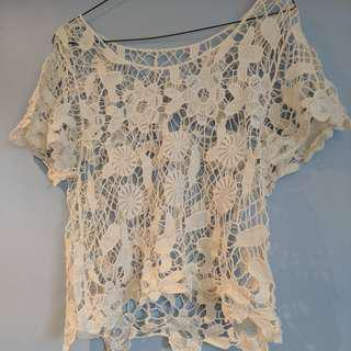 Lacy Cream Floral Top