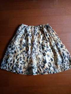 100%桑蠶絲 豹紋飄逸短裙