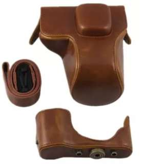 PU Leather Camera Case Bag Cover for Olympus E-PL7 14-42mm Lens Strap (Brown)