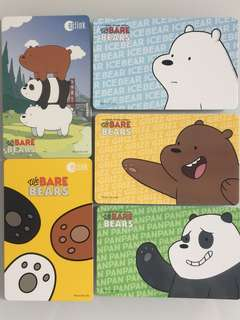 Limited Edition brand new We Bare Bears Design Set Of 5 ezlink Cards For $49.90.