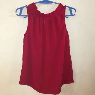 See-through red sleeveless