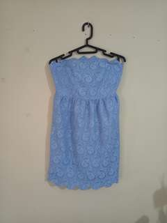Dress biru Brukat