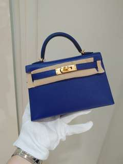 Hermes mini kelly electric blue A stamp